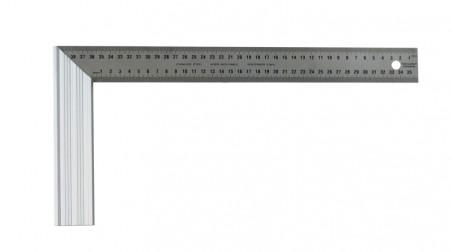 Équerre à dosset alu, règle en inox gravé, 400 mm