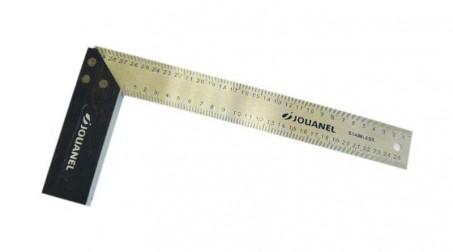 Équerre à dosset bois, règle en inox gravé, 300 mm