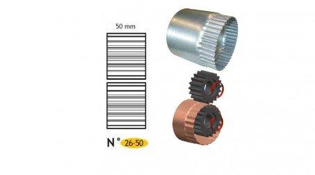 Jeu de molettes n° 26-50 molette de retreind 50 mm pour bordeuse SB5 et SB2