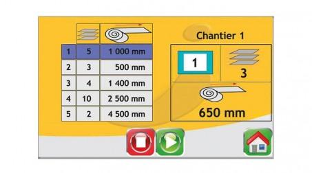 Ligne de coupe 1,25mx0.8mm,contrôle numérique longueurs/quantités,coupe élec. - Vue Recette en cours