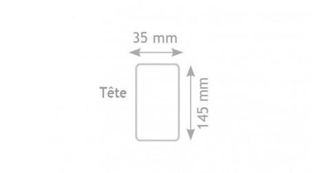 Maillet nylon embout carré de 145x75x35 mm, manche bois - Forme tete