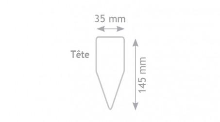 Maillet nylon embout carré et triangulaire de 145x75x35 mm, manche bois - Forme tete