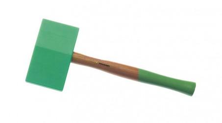 Maillet nylon embout carré et triangulaire de 145x75x35 mm, manche bois
