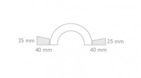 Main de fer double pli carré 25 et 35 mm, largeur 135 mm - Schema