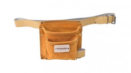 Poche à clous cuir avec ceinture, 2 poches et 3 porte-accessoires