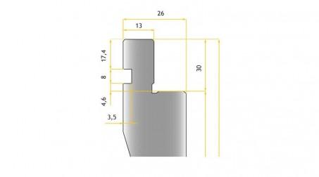 Poinçon 24°, r 0,5 mm, court 500 mm - vue profil Partie Haute