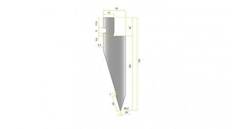 Poinçon 24°, r 0,5 mm, court 500 mm - vue profil