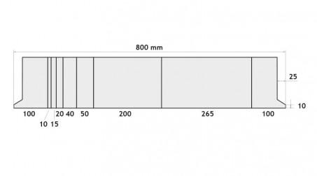 Poinçon 24°,r  0,5 mm, fractionné 800 mm - Vue Face Fractionne