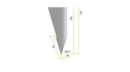 Poinçon 24°, r 0,5 mm, longueur 800 mm - Vue profil partie Basse