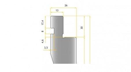 Poinçon 24°, r 0,5 mm, longueur 800 mm - Vue profil partie Haute