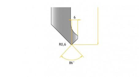 Poinçon 86°, r 0,6 mm, fractionné 800 mm - Vue Profil partie Basse