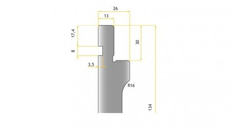 Poinçon 86°, r 0,6 mm, fractionné 800 mm - Vue Profil partie Haute