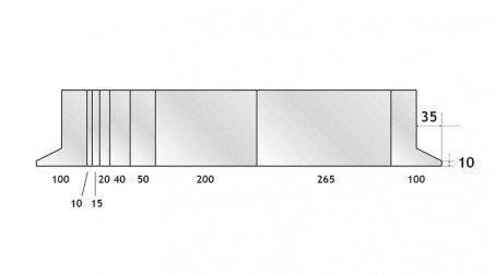 Poinçon 86°, r 0,6 mm, fractionné 800 mm - Vue Face Fractionne 800 mm