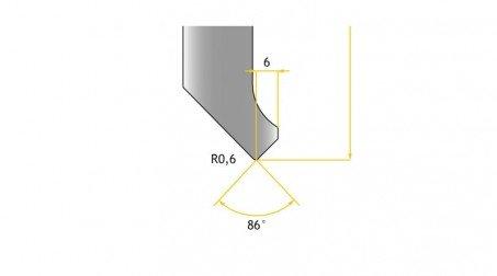 Poinçon 86°, r 0,6 mm longueur 800 mm - Vue profil partie Basse