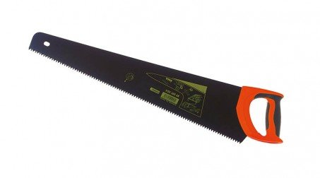 Scie égoïne universelle 500 mm, grosse denture trempée, revêtement noir anti-rou
