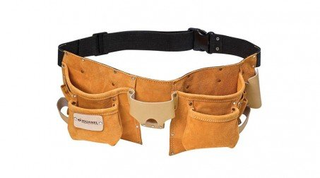 Tablier américain cuir avec ceinture, 6 poches et 8 porte-accessoires