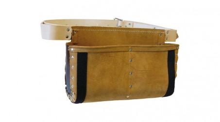 Tablier de coffreur cuir renforcé avec ceinture, 2 poches