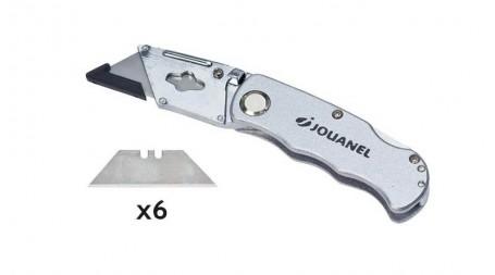 Couteau repliable pour lame trapézoïdale et lame à crochet (avec 6 lames trapézo