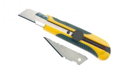 Cutter bimatière 25 mm, 1 lame droite à casser et 1 lame trapezoïdale, verrouill
