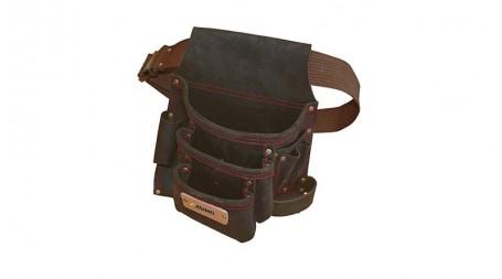 Poche à clous cuir renforcé avec ceinture, 3 poches et 5 porte-accessoires