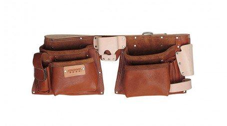 Tablier américain cuir QS avec ceinture, 6 poches et 5 porte-accessoires