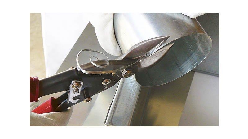 Cisaille bichantourneuse démultipliée pour inox, coupe à droite, 250 mm - action