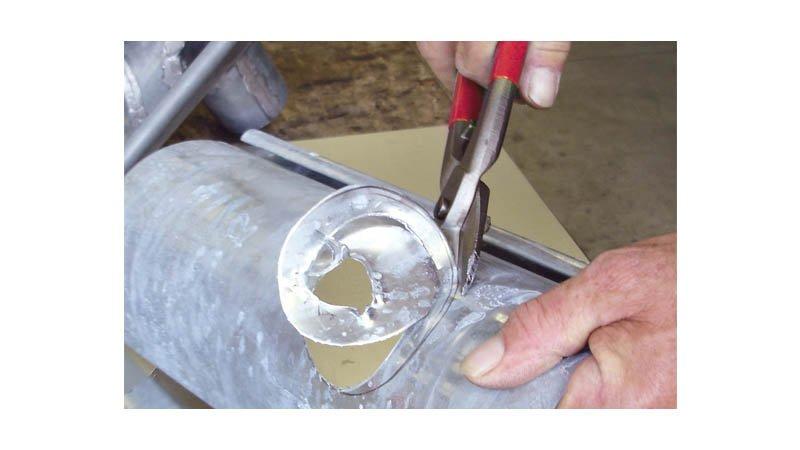 Cisaille coupe trou, coupe à droite avec ressort, 275 mm - action